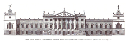 Wanstead House III, Essex - proposed design by Colen Campbell as shown in 'Vitruvius Britannicus'