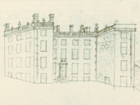 Forcett Hall, Yorkshire - as drawn by Samuel Buck