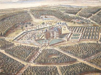 "Detail of 'Westwood, Worcestershire' published 1709 for ""Britannia Illustrata: Or Views of Several of the Queen's Palaces, also of the Principal seats of the Nobility and Gentry of Great Britain...."" by Johannes Kip & Leonard Knyff"