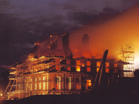 Uppark House, Sussex - on fire, 30 August 1989 (Image: National Trust)