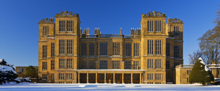The east front of Hardwick Hall, Derbyshire, in the snow. (Image: National  Trust Picture Library)