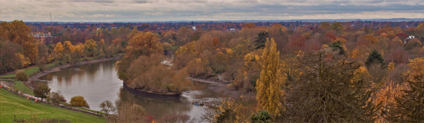 View from Richmond Hill, 2012 - Ham House can still be seen on the left, the only one now not obscured by trees. (Image: Kam Sanghera via Flickr)