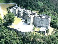 Detail of aerial view of Castle Drogo, Devon, showing the spectacular location (Image: National Trust on Dartmoor) - click for complete image