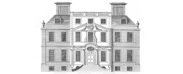 Escot House, Devon as shown in Vitruvius Britannicus (vol i, plate 78) - burnt down 1808