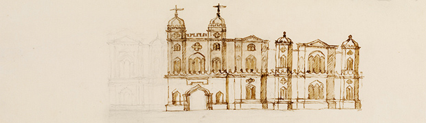 Sketch design for the east front of Esher Place, William Kent, c1732 (copyright: Victoria & Albert Museum)