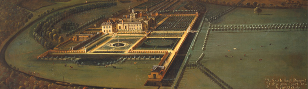 Detail from 'The Southeast Prospect of Hampton Court, Herefordshire' by Leonard Knyff, c1699 (Image: Wikimedia)