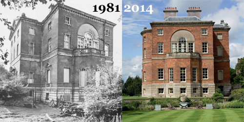 East front, Barlaston Hall - 1981 / 2014 (Images: SAVE Britain's Heritage / Knight Frank)