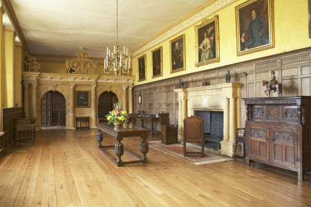 Montacute, Somerset - View of the Great Hall, looking towards the screen which separates the Hall from the Screens Passage (Image: ©National Trust Images/Nadia Mackenzie)