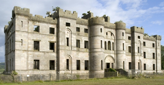 Dalquharran Castle, Ayrshire - built by Robert Adam c1785-1790, un-roofed 1967 (Image: RCAHMS)