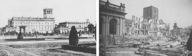Trentham Hall, Staffordshire - in its heyday and during demolition in 1912 after being polluted by nearby industry  (Images: Lost Heritage)