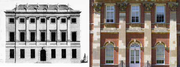 Comparison of Leoni's 7 Burlington Gardens and south front of Clandon Park (Image: 7BG: Wikipedia / Clandon: Matthew Beckett)
