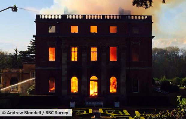 Clandon Park on fire, 29 April 2015 (Image: © Andrew Blondell / BBC Surrey)