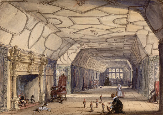 'The Gallery, Knole House, near Sevenoaks, Kent'. Joseph Nash. (Image © Victoria and Albert Museum, London - Museum no. 2996-1876)