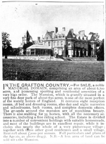 'In the Grafton country...' Advert for Writtlebury Lodge, Northamptonshire, Country Life Illustrated, 8 January 1897, p. 3