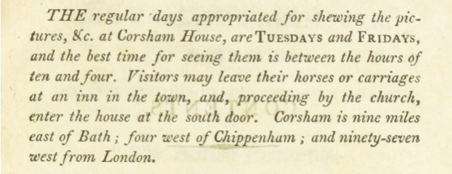 Opening Times in 'An Historical Account of Corsham House in Wiltshire, the seat of Paul Cobb Methuen' by John Brittan [1806]