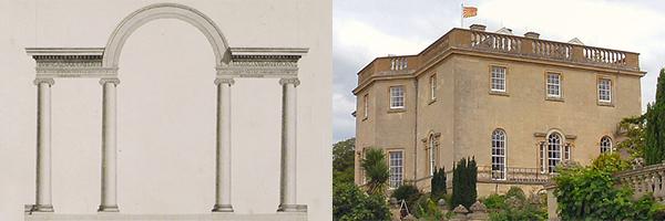 (left) Aqueduct of Hadrian from Antiquities of Athens (1794) (Image source: Aikaterini Laskaridis Foundation Library) | (right) Nuneham House, Oxfordshire (1754) (Image © Isisbridge on flickr)