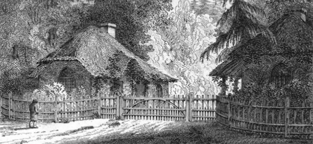 Lodges at the entrance to Mr Simeon's grounds on the Isle of Wight, designed by H. Repton (Image from 'A New Picture of the Isle of Wight' by W. Cooke (1808)
