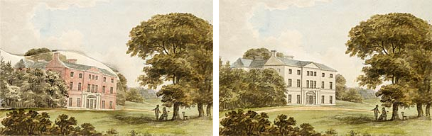 Images showing proposed exterior changes from H. Repton's Red Book for Hatchlands Park, Surrey (1800)