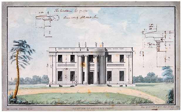 Tyringham Entrance Front 3/5/13, (© Sir John Soane Museum)