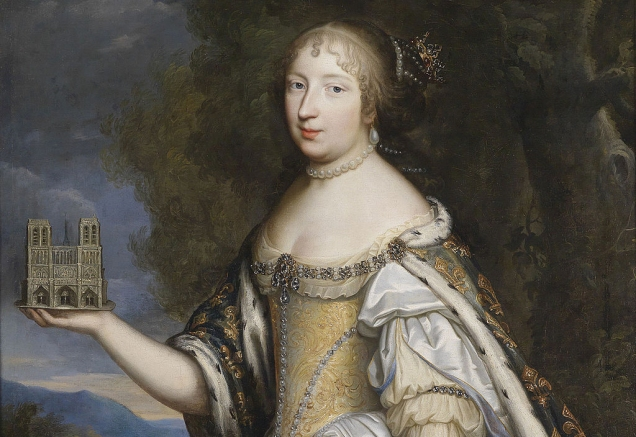 Detail of 17th-century portrait of Queen Marie Thérèse of France, as patron of the Cathedral of Notre-Dame de Paris (Studio of Beaubrun brothers) (Image: public domain via Wikipedia)